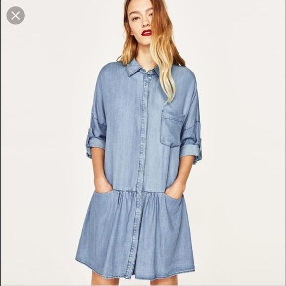 Zara Denim chambray oversized mini shirt dress
